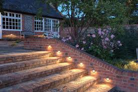 Backyard Lighting Ideas For A Party by Lamps U0026 Lighting Unique Outdoor Stairs Lights With Brick Exposed