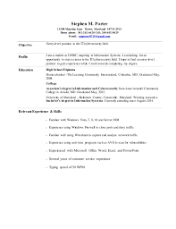 entry level resume stephen porter entry level information cyber security resume