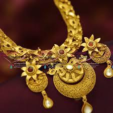 real gold necklace designs images Nl4658 one gram beautiful real look intricate jadau design JPG
