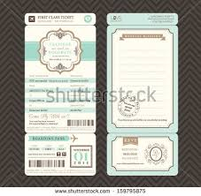 vintage style boarding pass ticket wedding stock vector 159795875