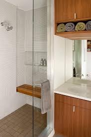 teak shower bench bathroom modern with chrome concrete faucet
