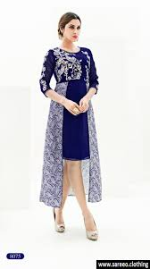 royal blue color fancy satin kurti with work