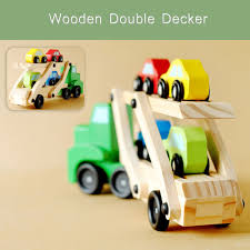 wooden car wooden double decker car carrier truck and cars wooden toy set