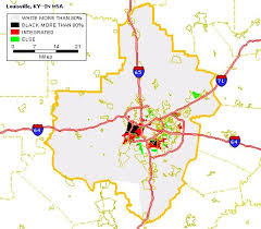map of ky and surrounding areas black white housing patterns in louisville