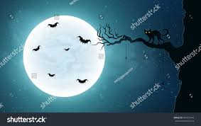 the background of halloween black cat on tree against background stock vector 691673416