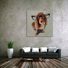 Goat Home Decor Online Shop Hand Paint Wall Art Home Decor Animal Dog Oil Painting