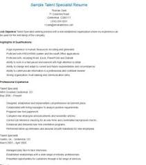Sample Talent Resume by Sample Small Business Specialist Resume Resame Pinterest