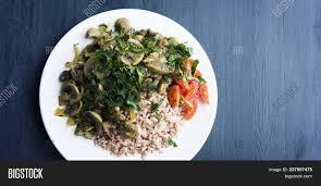 id cuisine simple rice mushrooms cherry tomatoes image photo bigstock