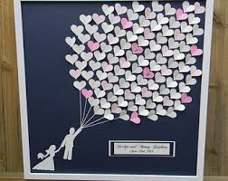 large wedding guest book wedding guest book alternative large size 3d paper hearts