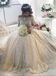 Princess Wedding Dresses Beautiful Lace Long Sleeve Princess Wedding Dresses 2017 Ball Gown