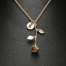 rose pendant necklace gold images Online shop 1 pcs charm rose flower pendant necklace gold color 26 jpg