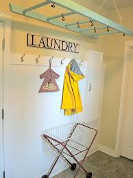 Laundry Room Decorating Accessories Hanging Drying Rack For Laundry Room With Wall Mount Clothes Hook