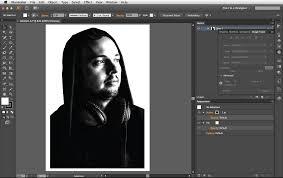 imagen blanco y negro en illustrator diseño de una tipografía retrato fresco en adobe illustrator