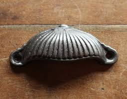decorative antique cast iron drawer pull cup handles shabby