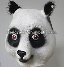 realistic panda bear mask halloween party costume theater props
