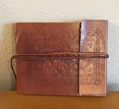 leather bound scrapbook vintage embossed leather photo album scrapbook with tie closure