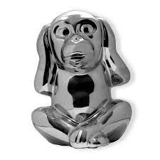 Deko Objekte Wohnzimmer Deko Figur Affe Nichts Hören Silber Keramik Dekofiguren