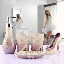 novelty high heels 5pcs bathroom accessories set modern lady sets