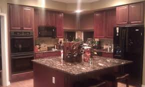 kitchen kitchen colors with dark cherry cabinets drinkware