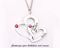 custom heart necklace personalized name necklace customize two heart necklace with