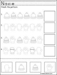 winter pattern practice worksheet students cut and paste the