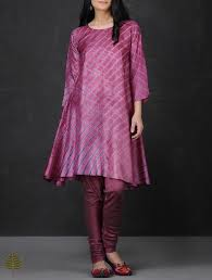 buy pink blue leheriya asymmetrical hem tussar silk kurta by