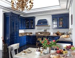 Blue Kitchen Cabinets Royal Blue Kitchen Design Carved Wood Kitchen Cabinets
