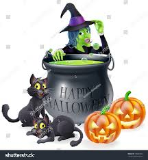 cartoon halloween pic halloween cartoon witch scene witch her stock illustration