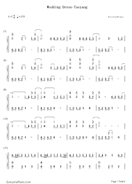 wedding dress chords piano wedding dress taeyang numbered musical notation preview 1 free