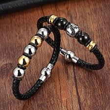 gold chain bracelet with leather images Xqni stainless steel chain bracelet men genuine leather bracelets jpg