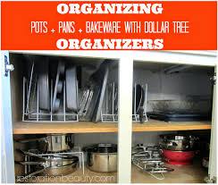 organizing pots pans bake ware with dollar tree organizers ware