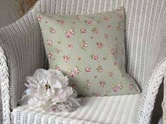 sage green english rose cushion cover in clarke and clarke fabric