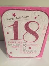18th happy birthday card pink glitter 18 year old for friend