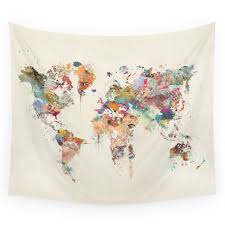 Map Tapestry Society6 World Map Watercolor Tapestry Review Project Room