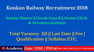 pattern of gate exam konkan railway recruitment 2018 for 113 post syllabus exam