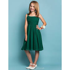 knee length chiffon junior bridesmaid dress dark green sheath