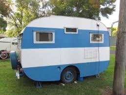 retro 1950s blue caravan