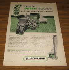1952 vintage ad allis chalmers tractor pulls forage harvester on