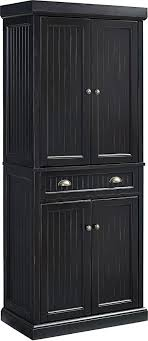 real wood kitchen pantry cabinet crosley furniture seaside kitchen pantry cabinet distressed black