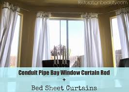restoration beauty conduit pipe bay window curtain rod bed