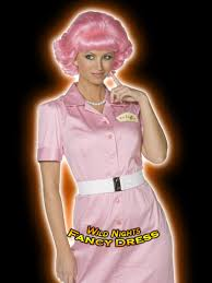 fancy dress wig pink ladies grease frenchy pink wig