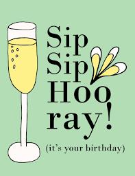 champagne celebration cartoon sip sip hooray funny birthday celebration card katmariacastudio