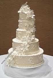 wedding cake gum five tier cake decorated with gum paste flowers pearls and