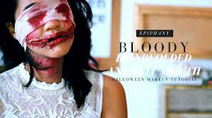 2015 bloody blindfolded and slit mouth halloween makeup tutorial