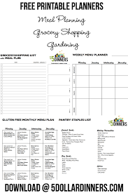 free printable planner templates free printable grocery planners free printables from 5 dinners