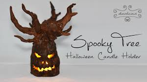 spooky tree candle holder halloween polymer clay tutorial youtube