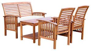 4 piece acacia patio conversation set with cushions craftsman