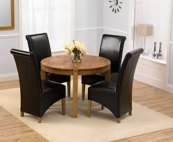 Dining Room Chairs Leather by Round Dark Oak Dining Table Starrkingschool