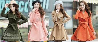 new womens wool coat slim long tunic dress coats shoulder strap