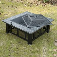 Metal Firepit Outsunny Square 32 Outdoor Backyard Patio Metal Firepit The